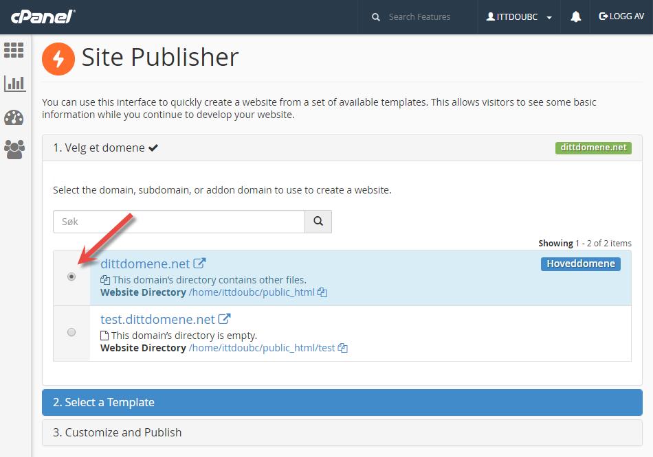 Velg domene i Site Publisher