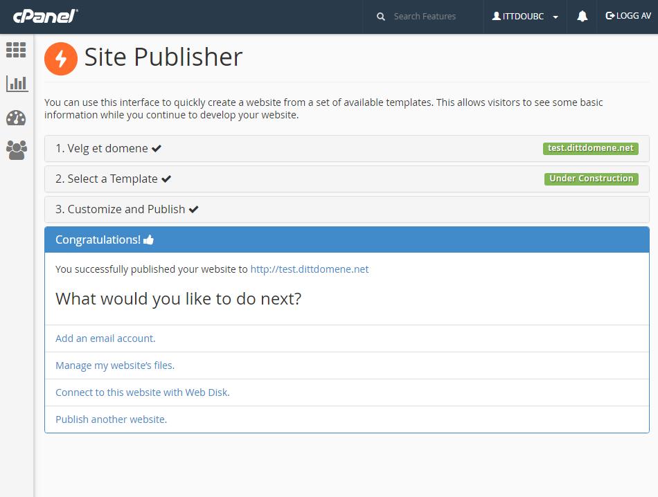 Fullført publisering i Site Publisher