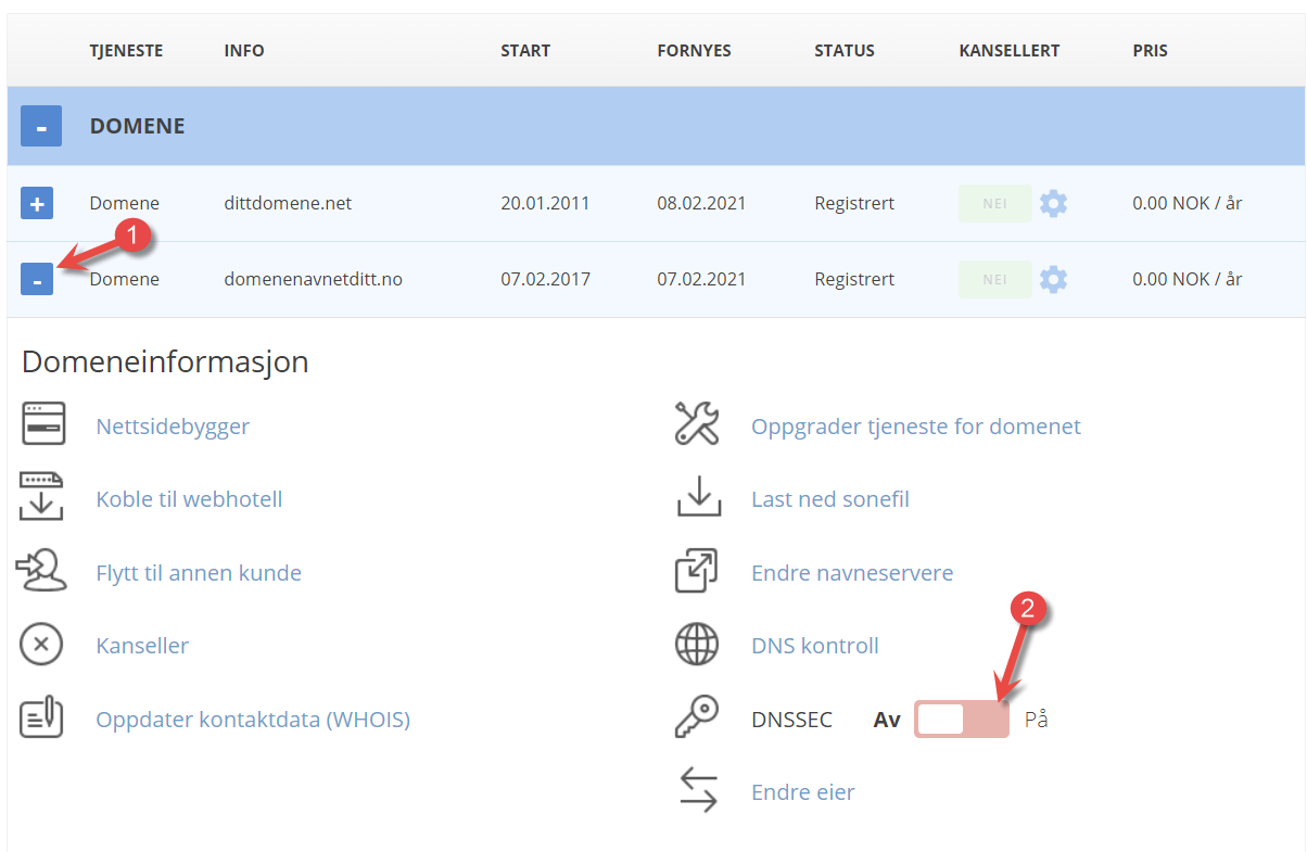 Slå på DNSSEC