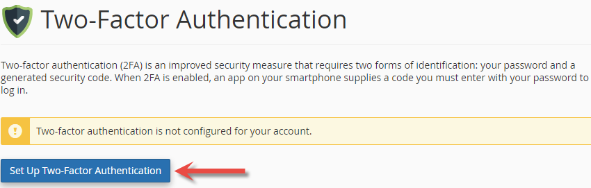 Set up two-factor authentication in cPanel