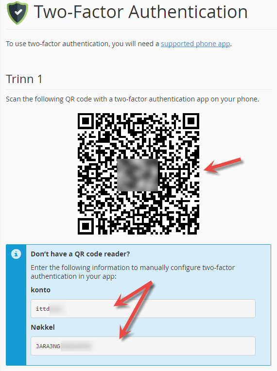 Scan QR code or type in code and numbers