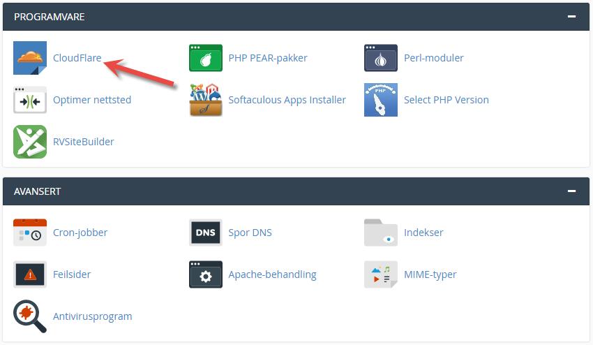 Velg Cloudflare ikonet i cPanel for å aktivere på ditt domenenavn