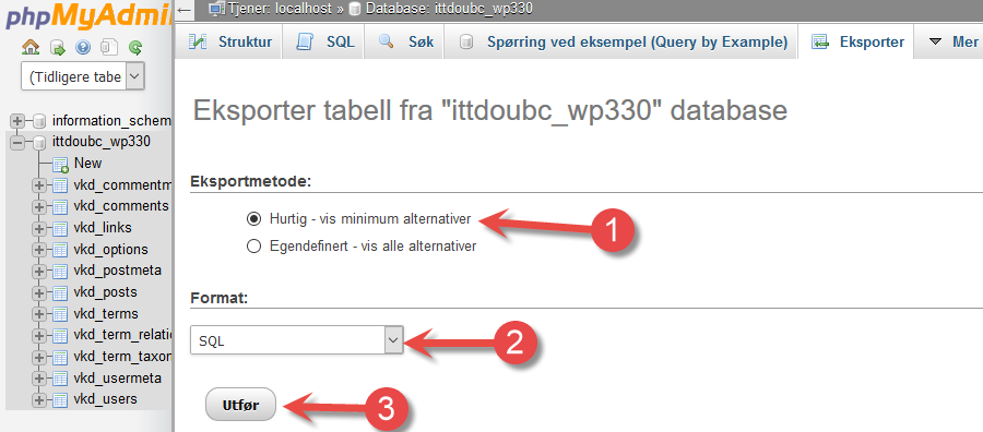 phpMyAdmin export page