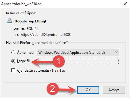 Nedlasting av SQL eksportfil