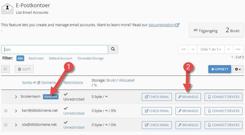 Oversikt over e-postadresser i cPanel