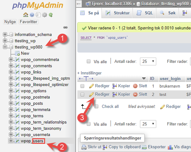 WordPress passord phpmyadmin