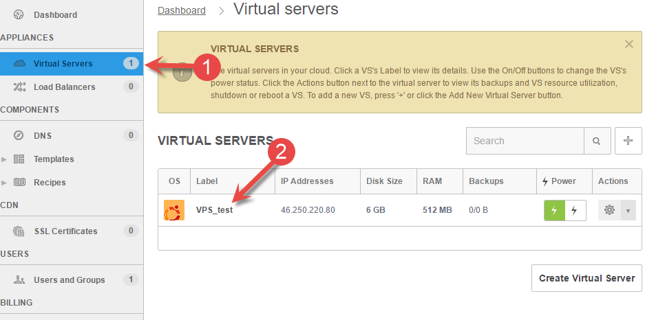 Find virtual server in the menu in OnApp