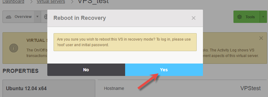 Confirm reboot of virtual server in OnApp