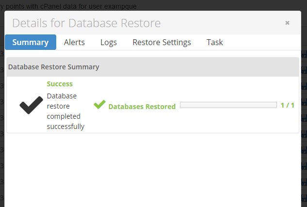 The restore of the database has now been completed