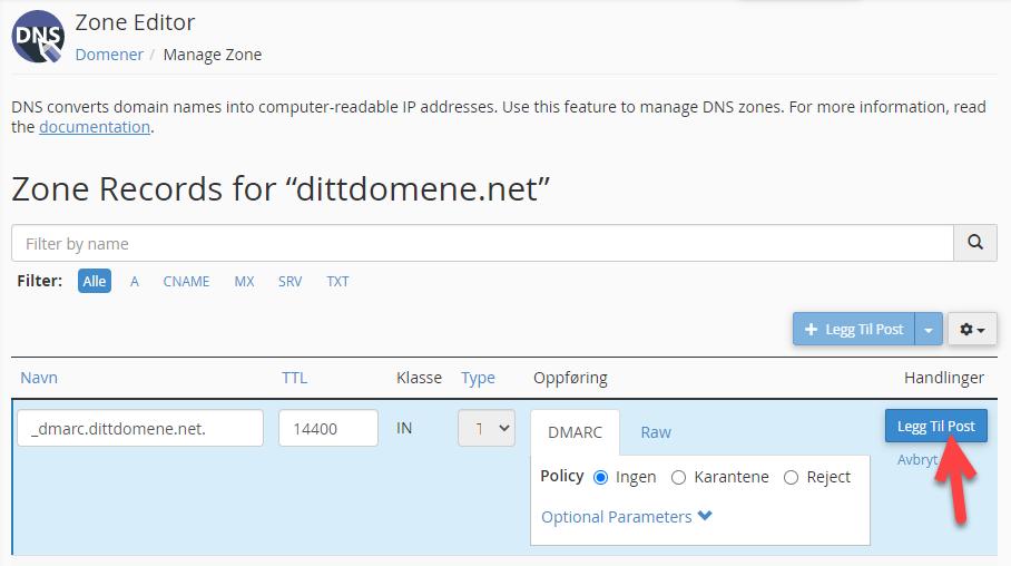 Legg til DMARC oppføringen i DNS