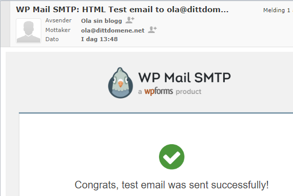 Test e-post med SMTP plugin WordPress