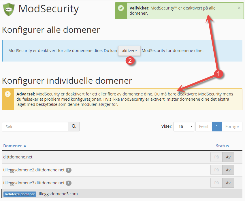 Aktivere og slå på mod_security for domene i cPanel