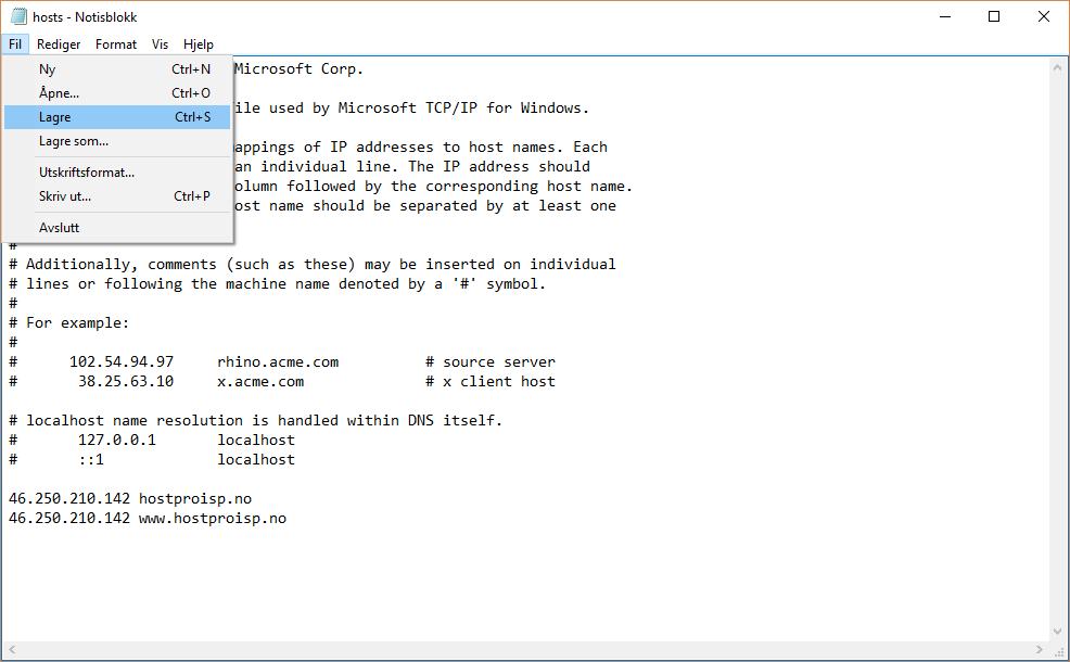 Lagre endringene i hosts filen