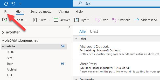 Endre serveroppsett Outlook 365