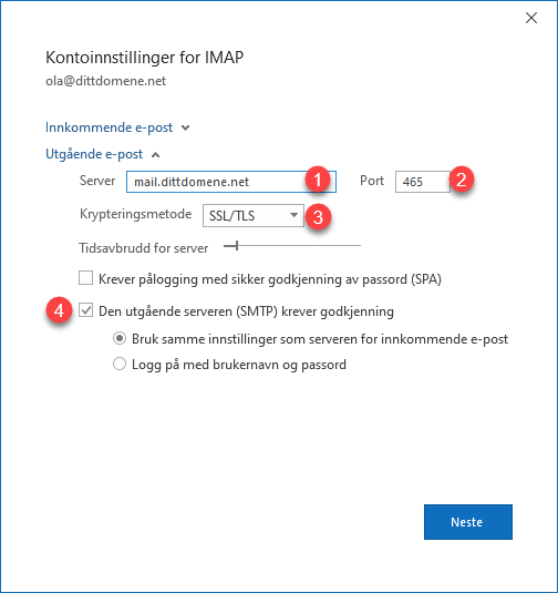 Utgående SMTP innstillinger for Outlook 365