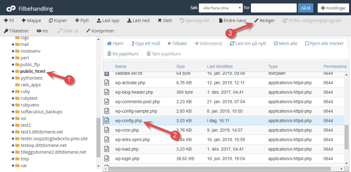 Endre URL i WordPress i File Manager i cPanel