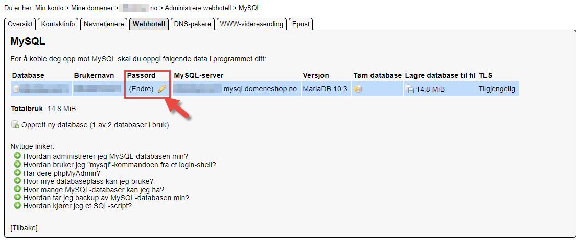 Flytting av database fra domeneshop