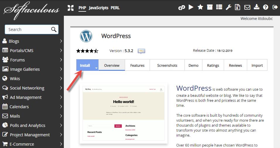 Velg ønsket skript WordPress