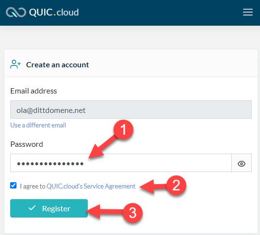 Opprett bruker hos Quic.cloud