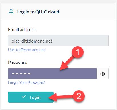 Logg inn hos Quic.cloud