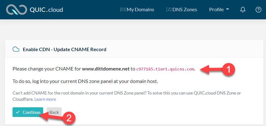 Kopier URL fra QUIC