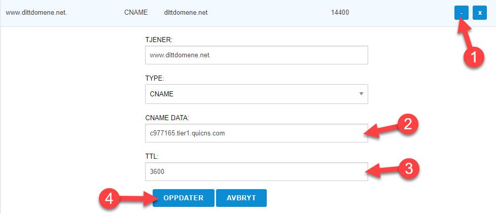 Oppdater DNS innstillinger i sonefilen