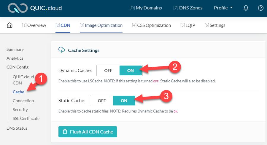 Aktiver statisk og dynamisk cache