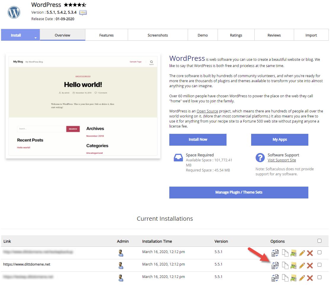Velg ønsket WordPress for å sette opp staging