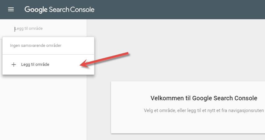 Logg deg inn i Search Console hos Google og legg til dine nettsteder