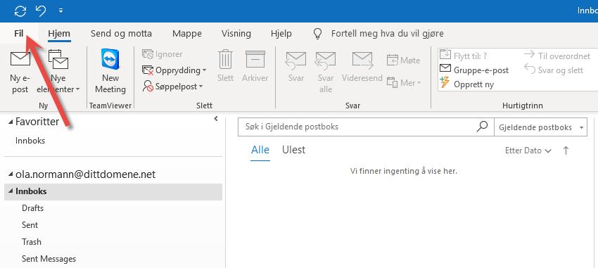 Import av .pst fil Outlook