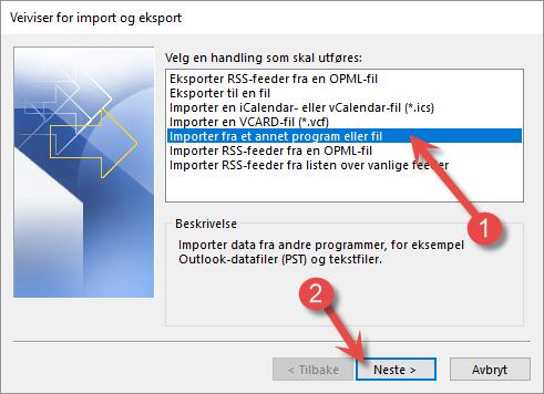 Importere i Outlook sin veiviser
