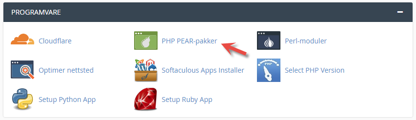 PHP PEAR pakker ikonet i cPanel