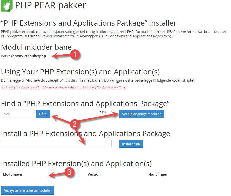 PHP PEAR pakker siden i cPanel