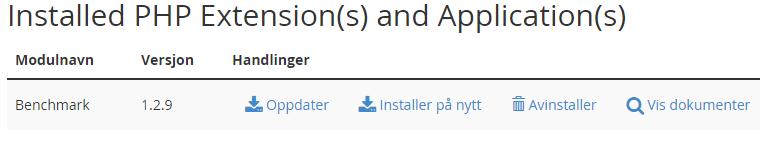 Liste over installerte PEAR pakker i cPanel