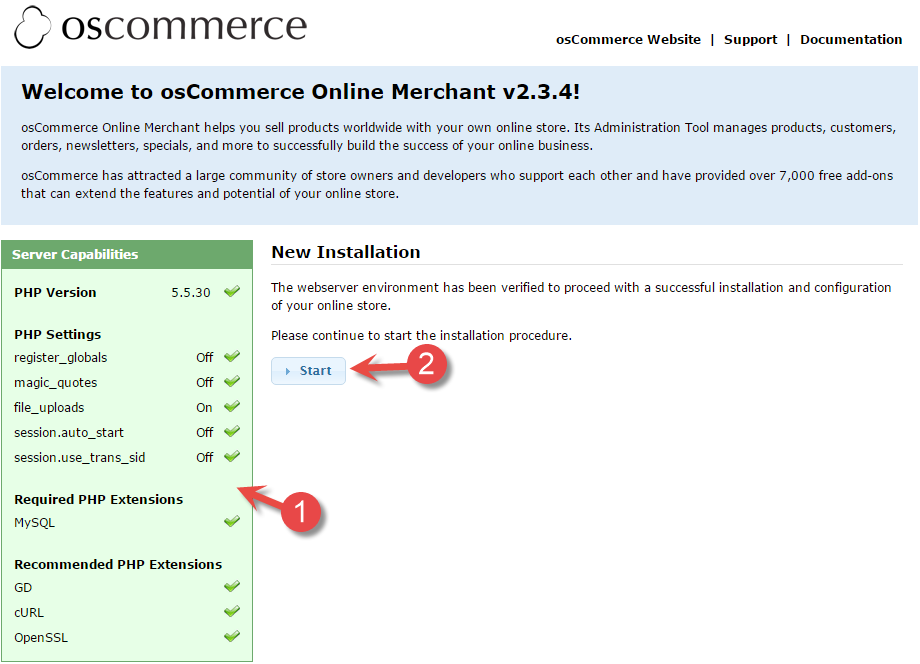 osCommerce start installation page