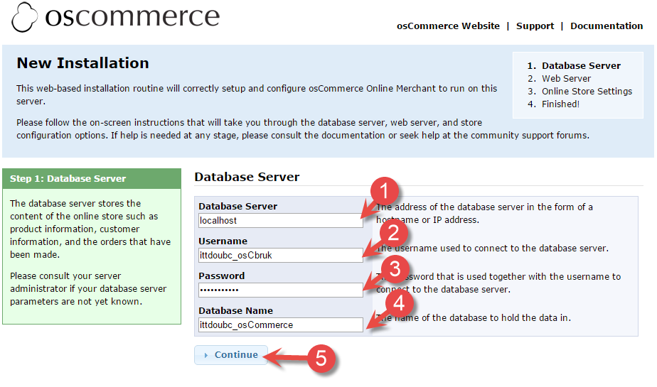 osCommerce database server install page