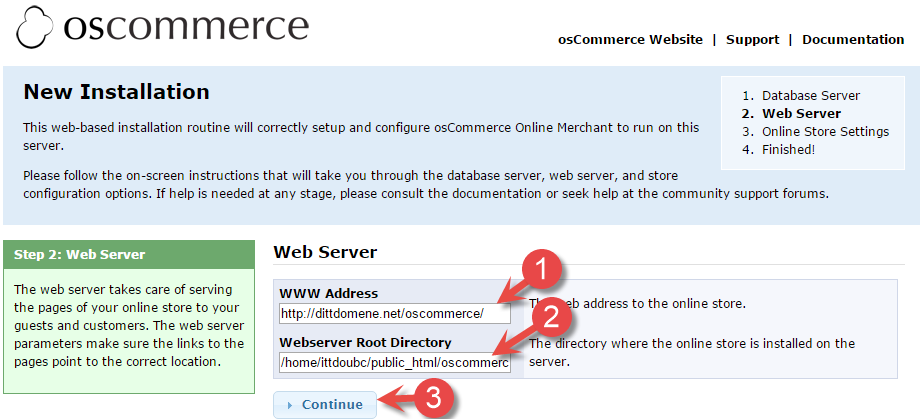 osCommerce web server installation page