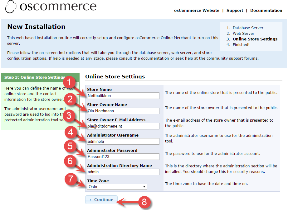 osCommerce online store settings installation page