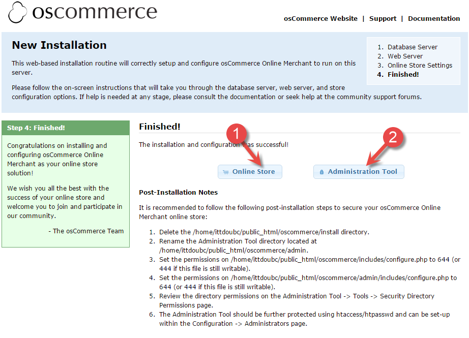 osCommerce finished page