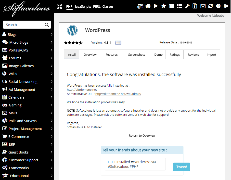 Completed installation of WordPress