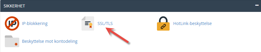 Find SSL/TLS icon in cPanel