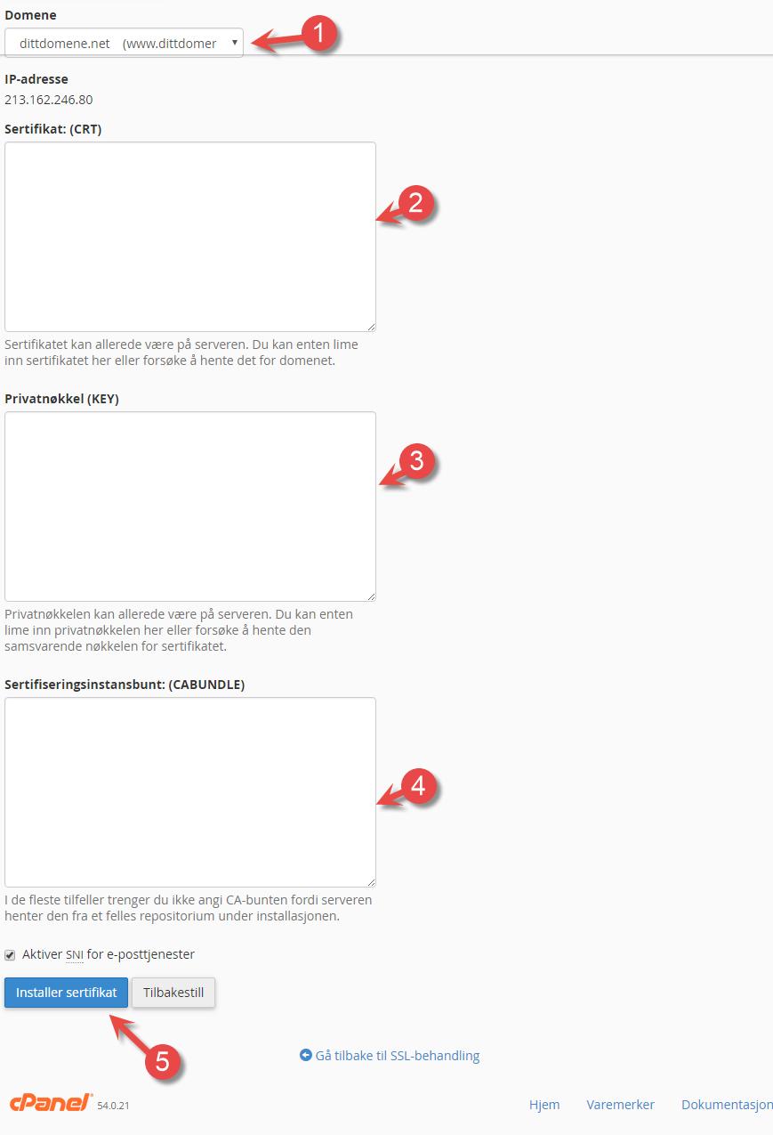 Installer SSL sertifikat via cPanel