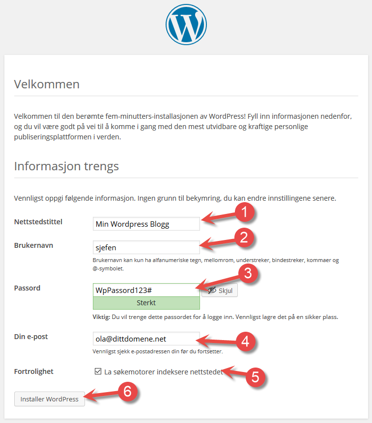 Side 1 av nettleser installasjon av Wordpress