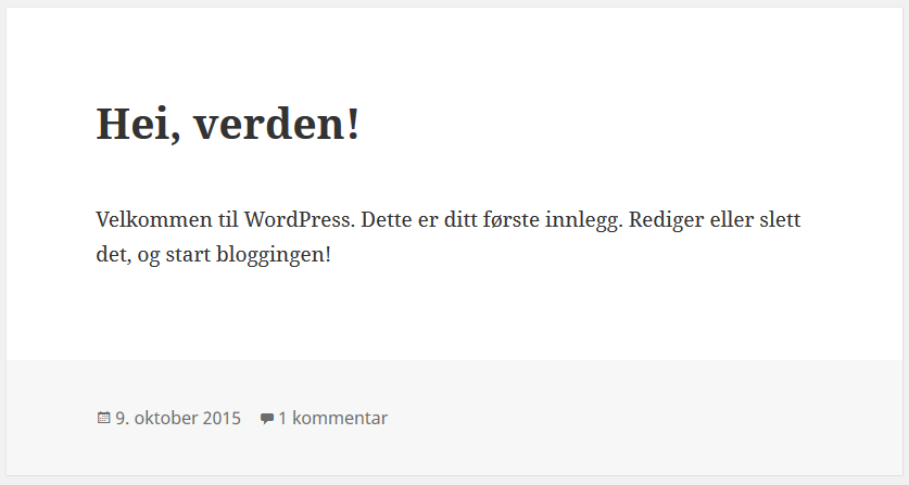 Hei verden side på WordPress installasjon