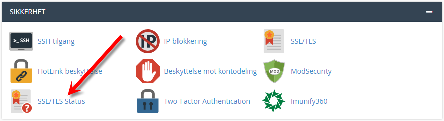 SSL/TLS Status i cPanel