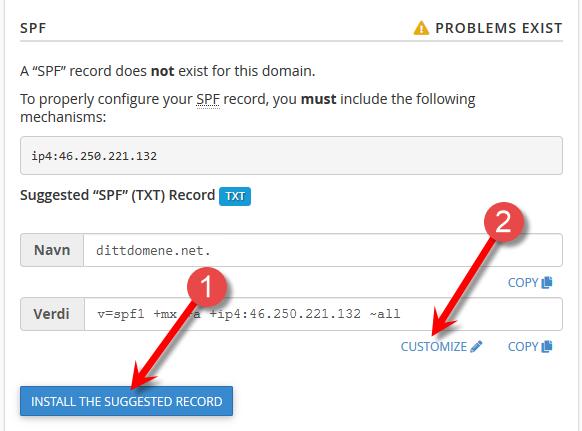 Konfigurer SPF i cPanel