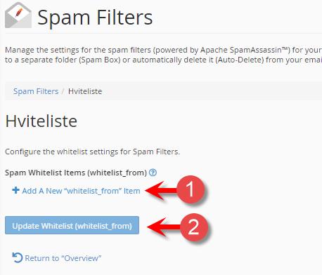 Velg ønsket score spam filteret skal bruke