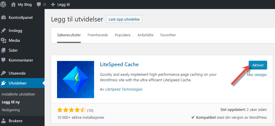 Installer Litespeed sin cache plugin til Wordpress
