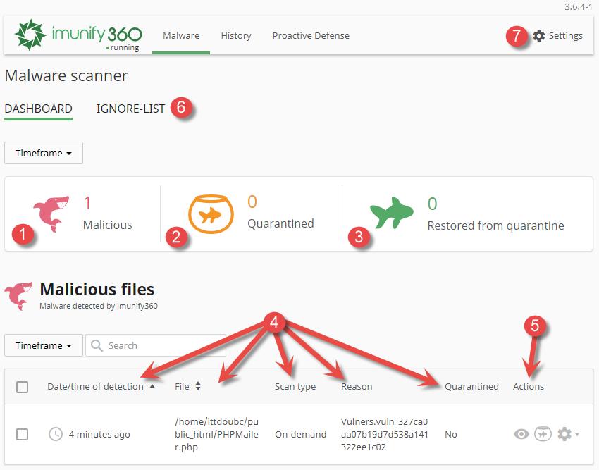 Malware scanner av onsinnede filer og karantene