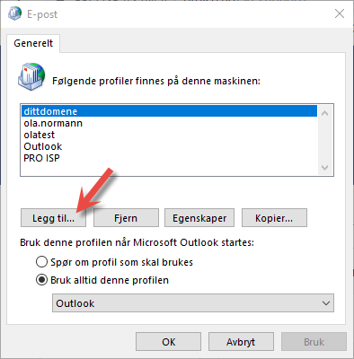 Legg til eller endre hvilken epost profil Outlook skal benytte